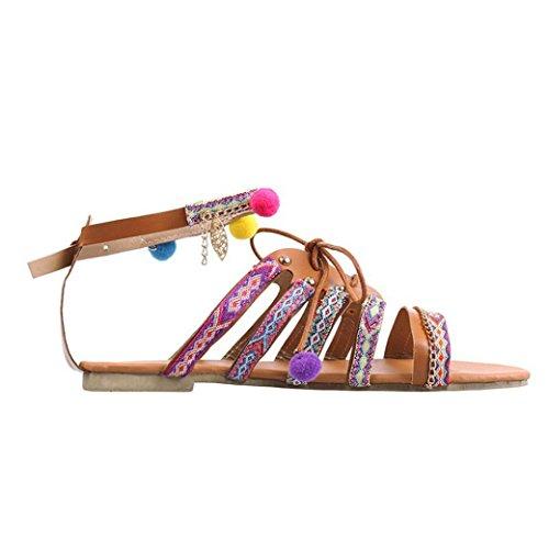 manadlian ♥ Damen Sandalen Sommer Elegante Frauen Böhmen, 2018 Ladies Sandalen Gladiator Ledersandalen Flache Schuhe Bommel Mehrfarbig Sandalen (39, Mehrfarbig)