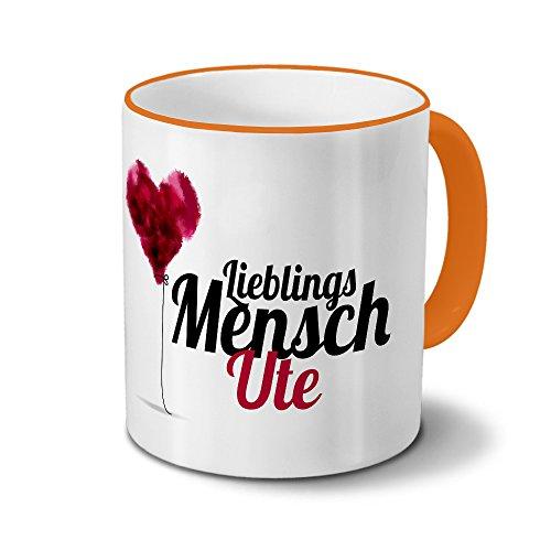 printplanet Tasse mit Namen Ute - Motiv Lieblingsmensch - Namenstasse, Kaffeebecher, Mug, Becher, Kaffeetasse - Farbe Orange