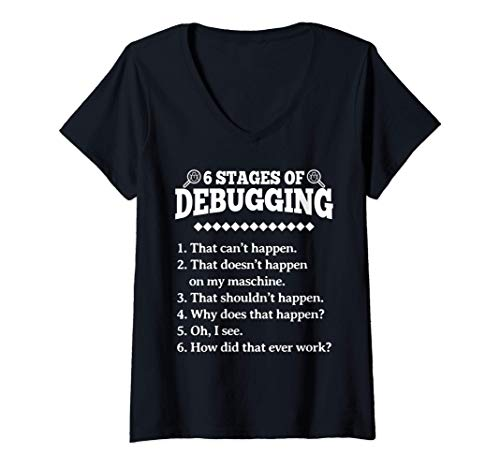 Mujer 6 etapas de la depuración de la programación divertida Camiseta Cuello V
