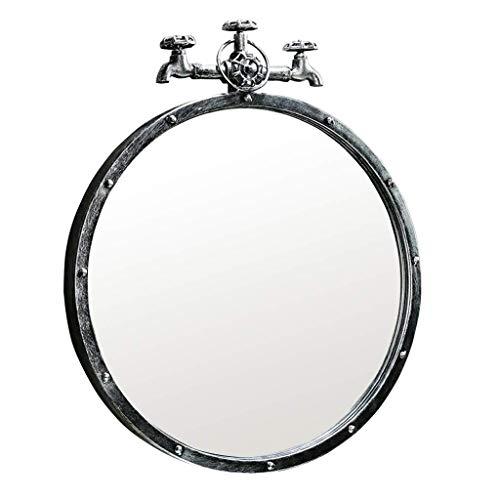 NMDCDH Baño Espejos de Metal montados en la Pared Sala de Estar Decorada Mural Espejo Retro Faucet Design 1: 1, Plata (Tamaño: Diámetro 40 cm)