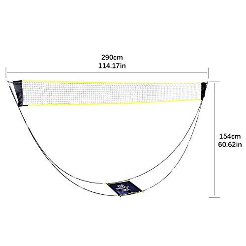 upstartech Badminton Tennis Net Height Adjustable Portable Folding Removable Badminton Net with Poles and Stand Carry Bag Lightweight Easy Setup for Garden Court Backyard Beach Indoor Outdoor