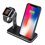 Aluminium 2in1 Phone Wireless Charger Watch Charging Stand Compatible iwatch Series 4,3,2,1,Wireless Charger Compatib iPhone Xs/X/Xs Max/Xr/8/8 Plus (Black)
