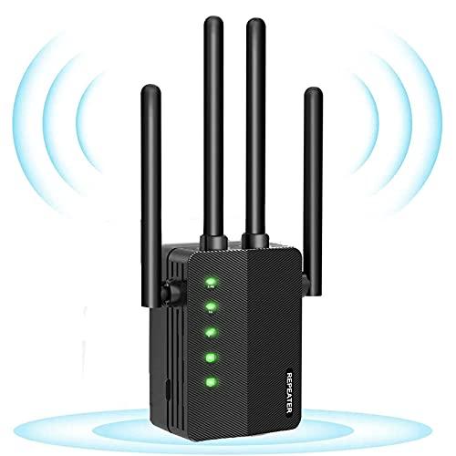 Ripetitore WiFi WiFi 1200 WiFi WiFi Amplificatore Wi-Fi compatibile con tutti i dispositivi WLAN, Dual WLAN, 5 GHz / 867 Mbit/s e 2,4 GHz / 300 Mbit/s, modalità AP, 2 porte LAN, 4 antenne esterne