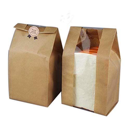 Pack of 30 Paper Bread Bag Kraft Food Packaging Storage Bakery Bag with Front Window, Label Seal sticker included (Kraft, 12.2''x4.7''x3.54'')