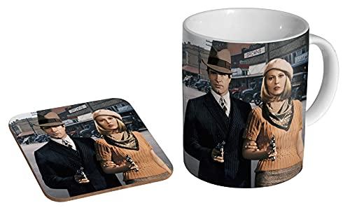 Bonnie und Clyde Warren Beatty Faye Dunaway Farbige Keramik-Kaffeetasse + Untersetzer Geschenk-Set ...