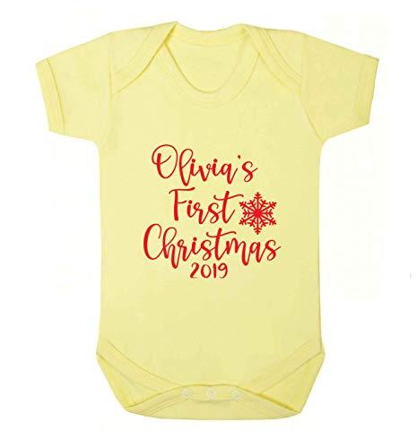 Flox Gilet de bébé personnalisé Inscription First Christmas - Jaune - XS