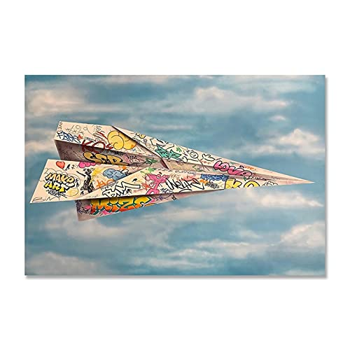 RHWXAX Graffiti Art Paper Origami Avión Impreso Cartel y Estampados Pintura de Lienzo Arte de la Pared Fotos para la Sala de Estar Home 24x32inch Sin Marco