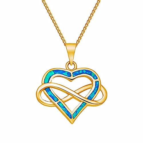 Beforia Paris – Corazón Infinito – Infinity – Collar chapado en oro 24 K plata 925 con colgante de ópalo Swarovski – Collar con cadena de plata de ley 925 con estuche de regalo PIN/75