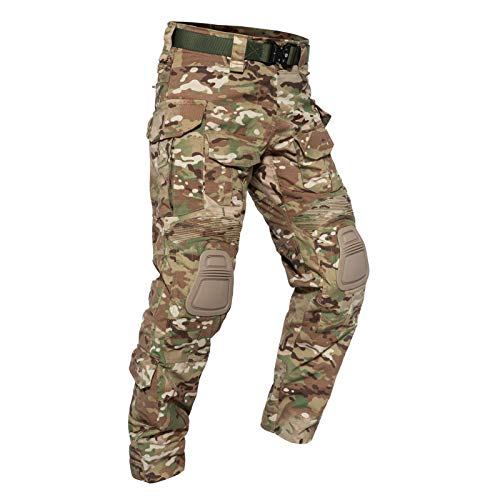 YEVHEV G3 Tactical Pants Camouflage with Knee Pads for Men Paintball Clothing Gear(Belt not Included)
