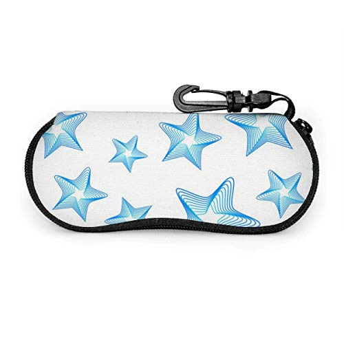 Blue Stars Seamless Pattern Sunglasses Case Soft Ultra Light Portable Zipper Eyeglass Case Versatile Neoprene Personalized