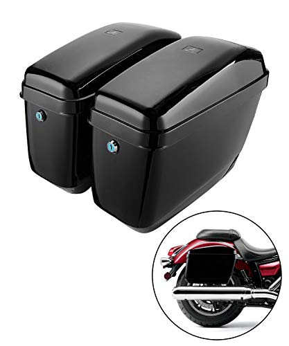 Motorcycle Hard Saddlebags Saddle Bags compatible with vulcan 800 900 V star 650 1100 1300 Softail with Mounting Kits
