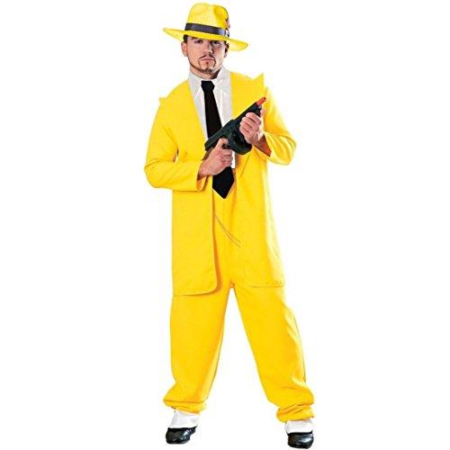 MyPartyShirt - Traje Amarillo, disfraz para adulto de La mscara de Jim Carrey/Dick Tracy