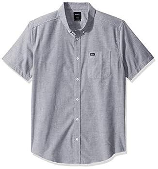 RVCA Men s Thatll DO Stretch Short Sleeve Woven Button Front Shirt Pavement XL