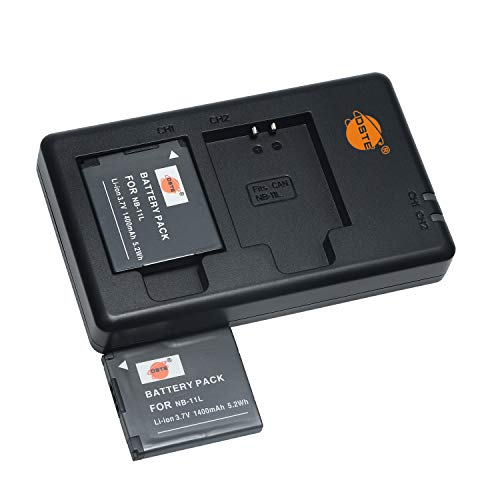 NB-11LH 11L - Batería de repuesto recargable y cargador dual compatible con Canon PowerShot SX410 is,A3500,A4000 is,ELPH 110,340 HS,IXUS 265,132D,140,155,150,145, etc.
