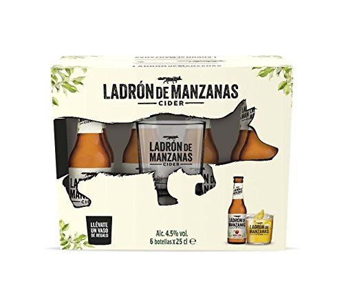 Ladrón de Manzanas Cider - Pack de 6 Botellas x 250 ml + Vaso de Regalo - Total: 1500 ml