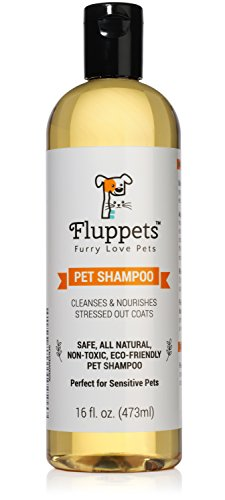 Fluppets Certified Organic Pet Shampoo Natural Hypoallergenic Non Toxic For Sensitive Itchy Skin For Dogs, Cats, Puppies, Guinea Pigs and...