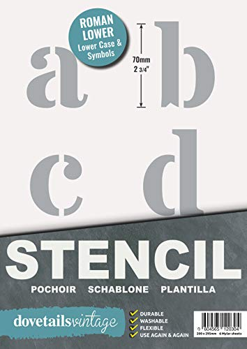 Lettersjabloon - zeer grote alfabet sjablonen letters/symbolen 7 cm hoog ROMAN kleine letters 6 x bladen 29.5 x 20 cm