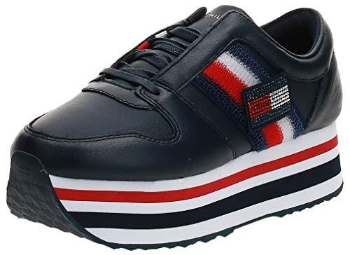 Tommy Hilfiger Footwear Damen Sneaker Customize Flatform Leder blau Gr. 40