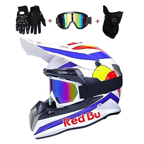 OUTLL Motocross Helm Set, mit Brille/Maske/Handschuhe, Erwachsene Offroad Motorrad MTB BMX Enduro Helm Bergab Quad Fahrrad Absturz Helm, DOT Zertifizierung (Color : White Blue, Size : M/55-56CM)