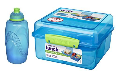 Lunchbox MAX Cube - 2 l + Joghurtbehälter - 150 ml + Wasserflasche - 385 ml Blau