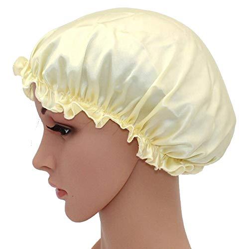 WJH Sleeping Naturel Soie de mûrier Bonnet de Nuit Bonnet Chapeau Head Couverture pour Beauty Hair avec Bande élastique pour Cheveux Perte de Sommeil Protection des Cheveux (2 pièces),Jaune