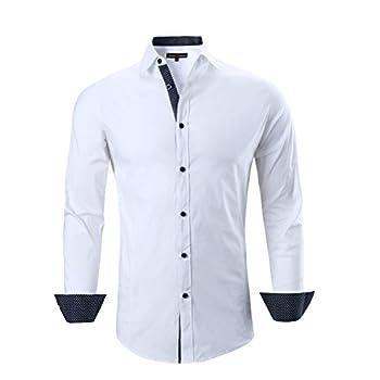 Alex Vando Mens Dress Shirts Regular Fit Long Sleeve Men Shirt,White,Medium