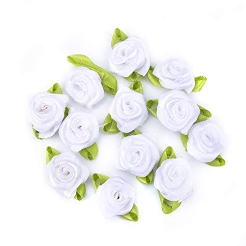 RAQ Ribbon Rose Flower Heads satijnen lint Handmade Craft Scrapbooking voor bruiloftsdecoratie Kunstbloemen wit
