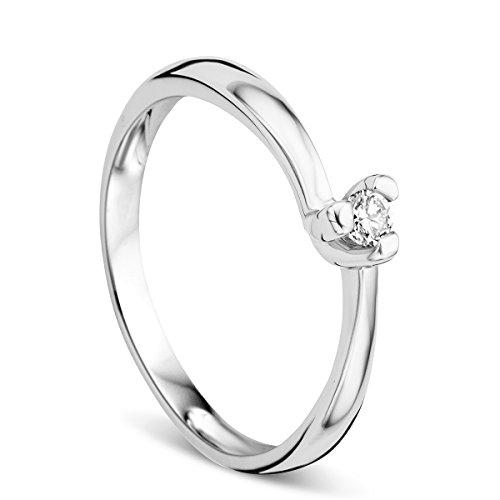 Orovi Ring für Damen Verlobungsring Gold Solitärring Diamantring 9 Karat (375) Brillianten 0.07ct Weißgold Ring mit Diamanten Ring Handgemacht in Italien