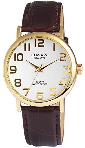 Omax Herrenuhr Weiß Braun Gold Analog Metall Kunst-Leder Quarz Armbanduhr