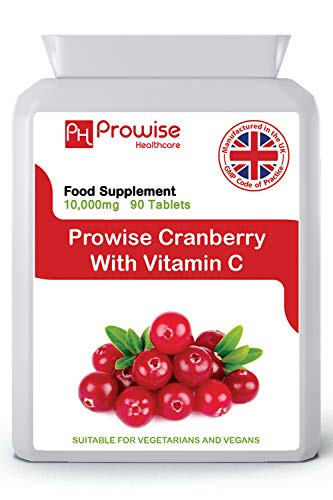 Cranberry Double Strength 10.000 mg 90 Tabletten mit Vitamin C-Zusatz - High Strength Daily Supplement - UK Hergestellt | GMP-Standards von Prowise Healthcare