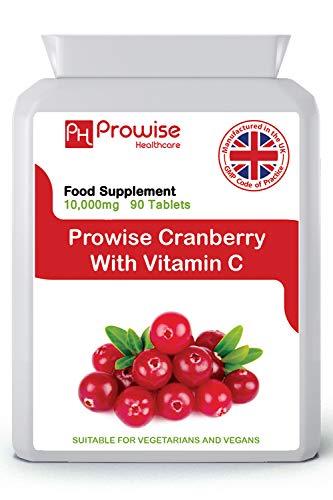 Cranberry Double Strength 10,000mg 90comprimés avec ajout de vitamineC -Supplément quotidien de haute résistance - Fabriqué au Royaume-Uni avec une qualité garantie GMP-Convient aux végétariens et aux