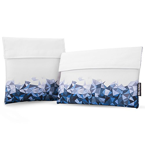 Ava & Kings 2pc Eco Friendly Reusable Snack Bags Sandwich Wrap w/Insulated Fabric - Great for School Lunch, Work, Picnic Food, Boys & Girls - Sizes: 7x7 in & 6x9 in - Blue/White Geometric