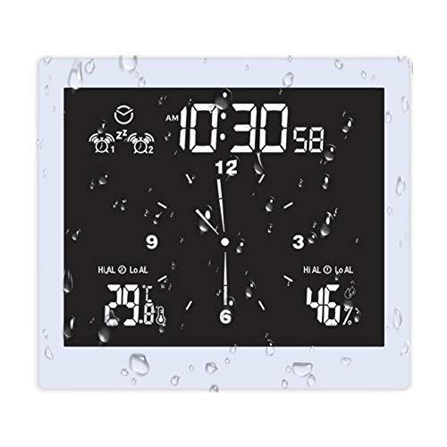 Fiacvrs Reloj de ducha de baño con alarma, temperatura interior y humedad,...