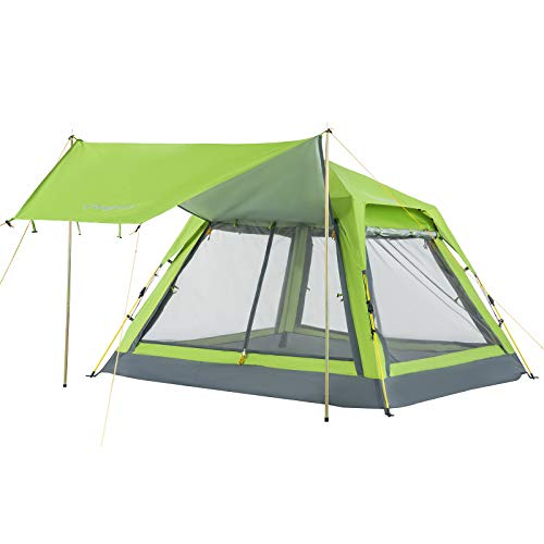 KingCamp 2-3 Person Easy Set up Double Layer Waterproof Backpacking Square Top Tent, for Outdoor Camping Beach Hiking, Green, One Size (KT3099_Green_USVC)