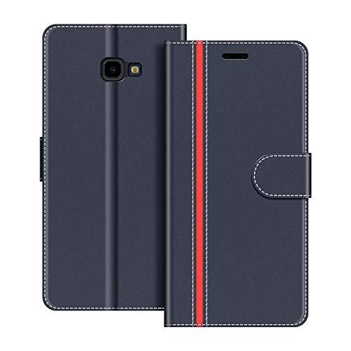 COODIO Handyhülle für Samsung Galaxy J4 Plus Handy Hülle, Samsung Galaxy J4 Plus Hülle Leder Handytasche für Samsung Galaxy J4 Plus 2018 Klapphülle Tasche, Dunkel Blau/Rot