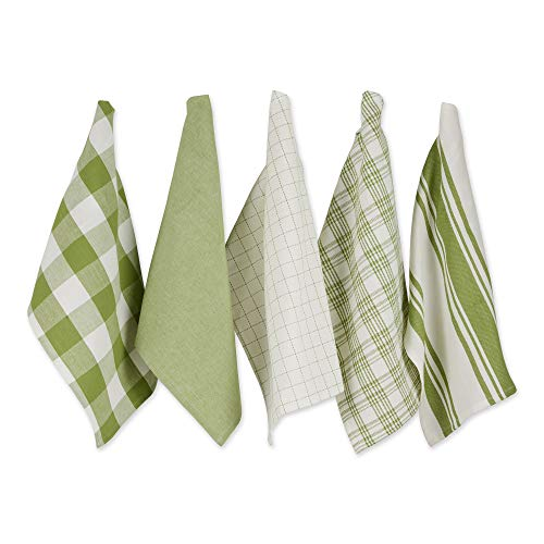 DII Everyday Kitchen Collection Assorted Dishtowel Set, 18x28, Antique Green 5 Piece