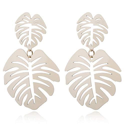 Bohemio colorido género hueco doble hoja coco hoja de palma damas grandes aretes de playa aretes grandes blancos