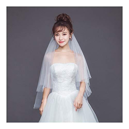 Einfache 2-Schicht-Tüll Brautkleider Schleier mit Kamm Hochzeit Zubehör Vail Ehe Brautschleier (Color : Ivory, Item Length : 150cm)