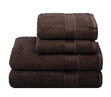 GLAMBURG Juego de 4 Toallas Ultra Suaves, de algodón, Contiene 2 Toallas de baño de 70 x 140 cm, 2 Toallas de Mano de 50 x 90 cm, Uso Diario, Compacto y Ligero, Color marrón