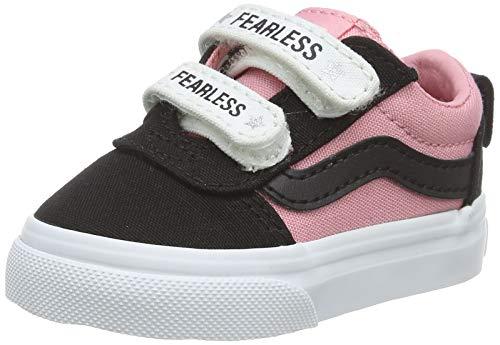 Vans Unisex Baby Ward V - Velcro Canvas Sneaker, Mehrfarbig ((Fearless) Black/pink Icing WG8), 22 EU