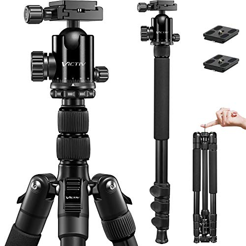 VICTIV Camera Tripod 81 inches Monopod, Aluminum Travel Tripod for DSLR, Lightweight Tripod Loads Up to 19 lbs with 360 Degree Ball Head and Carry Bag for Travel and Work - AT26 Black