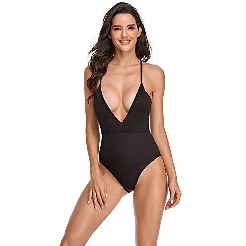 FAYHRH Traje de baño niña Bañadores de Mujer Bikini Color sólido V Profundo Sexy Cubierta Multicolor Vientre Adelgazante Traje de baño de una Pieza-Negro_M