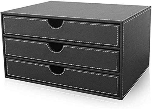 Archivo de archivador, archivo de revista con bloqueo de bloqueo y cajón Archivo de escritorio de múltiples funciones de 3 cajones Color: Negro, Marrón Archivo de oficina de oficina, cuadro de archivo