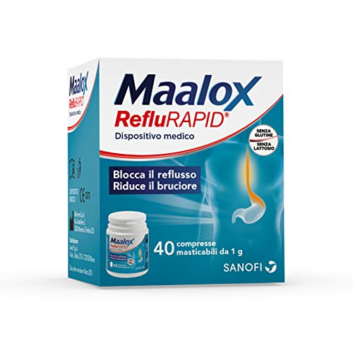 Maalox RefluRAPID - Dispositivo medico per il Trattamento del Reflusso Gastro-Esofageo - ad Azione rapida - 40 Compresse - Senza Lattosio e Senza Glutine