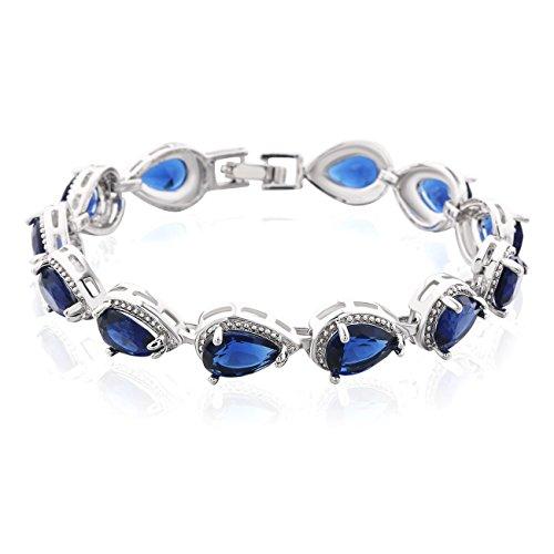 GULICX-larme, braccialetto da donna, catena, argento, con Swarovski, stile alla moda, 18,5cm, placcato oro bianco, bijoux romantico, rame, colore: blu, cod. L174b
