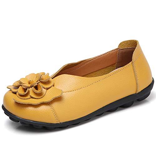 Gaatpot Mujer Mocasines de Cuero Vintage Flores Loafers Casual Respirable de Deslizamiento...
