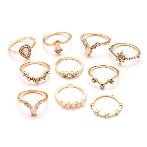 Denluns 10 Stück Ringe gesetzte Persönlichkeit Stapelbare Ringe Set Boho-Knöchel-Ringe Ãœberzogene Silberringe Dekorieren Sie Ihren Beauty Midi Ring