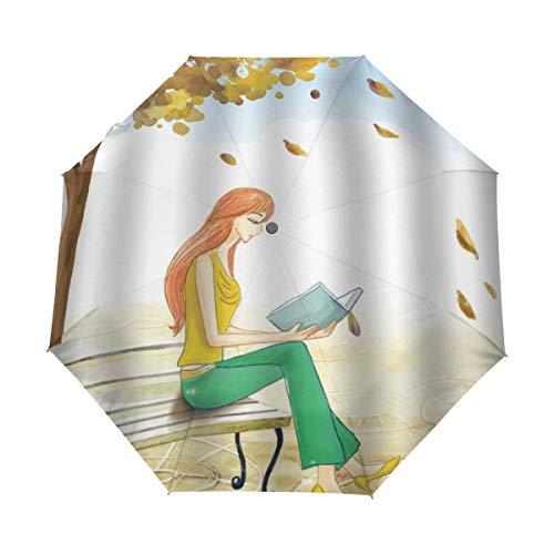 DUILLY Automatischer Regenschirm zum Öffnen/Schließen,Karikatur-Mädchen-Blauer Himmel unter gelber Baum-Dame Sitting Bench Reading-Buch-fallenden Blättern,zusammenklappbarer Kleiner Sonnenschirm