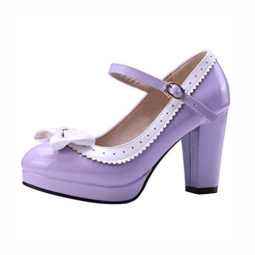 Blockabsatz High Heels Pumps Plateau Lack Mary Jane Damen Schuhe Rockabilly Lolita Cosplay Cute Pumps(Lila,41)