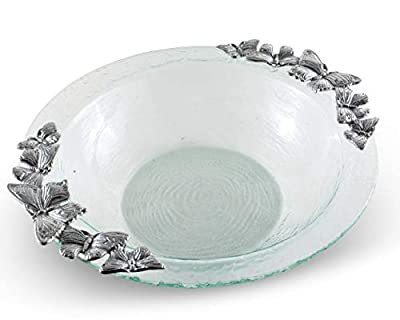 "Arthur Court Designs Butterfly Pattern Glass and Aluminum Salad Bowl Diameter: 16"""